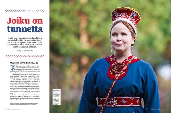 MaailmanKuvalehti-022018-JoikuOnTunnetta-AnnaLumikivi-KukkaRanta