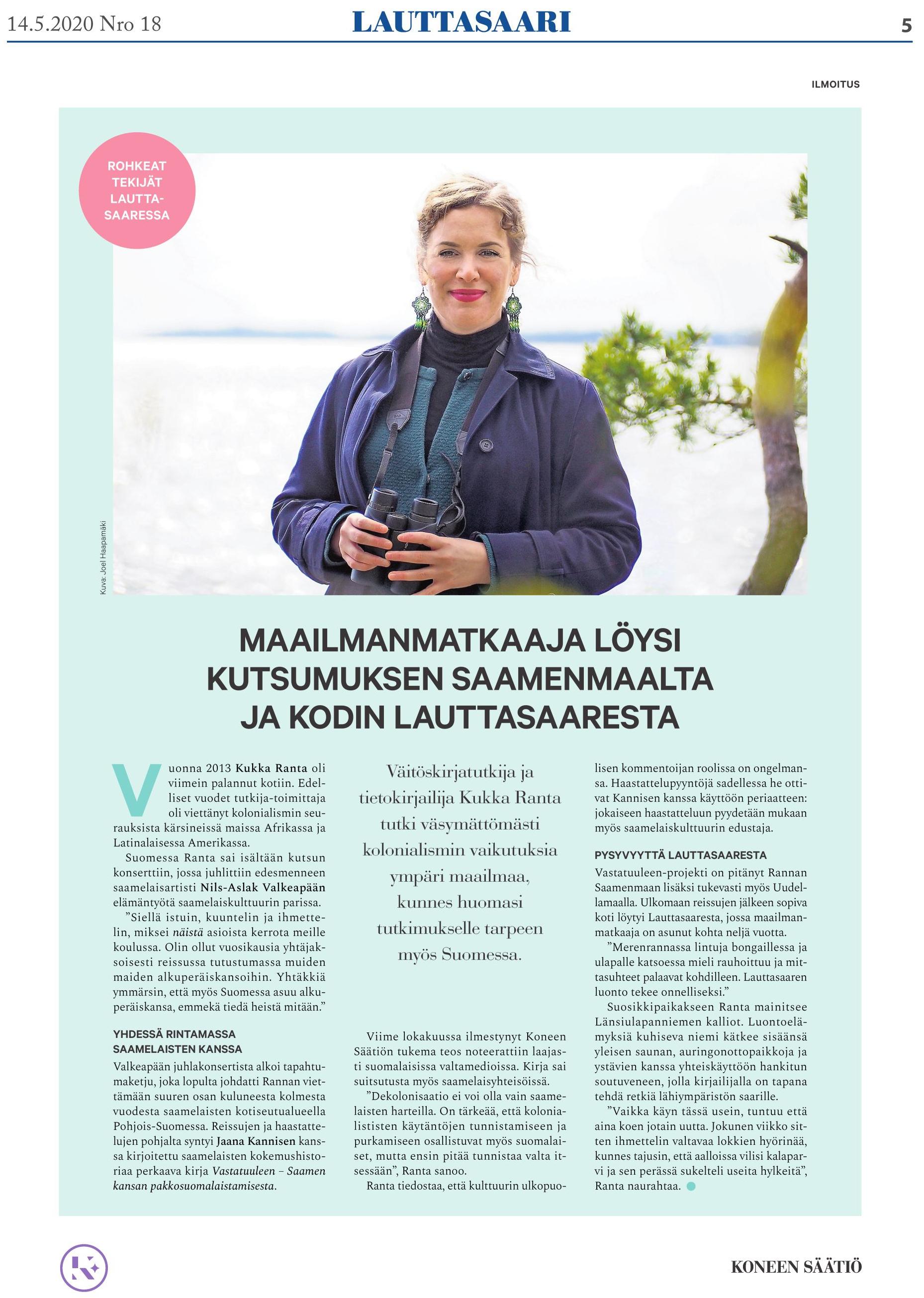 Lauttasaarilehti-20200514-Rohkeattekijat-KukkaRanta